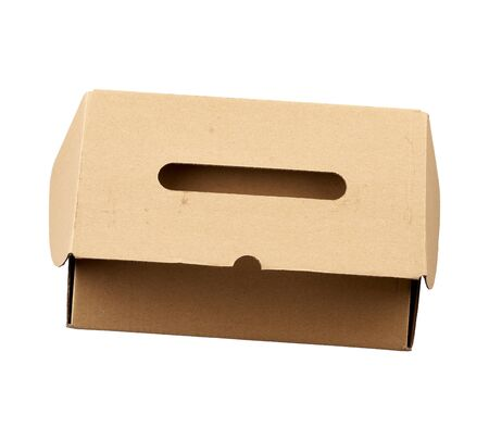 closed brown rectangular cardboard box for transporting goods isolated on white background. Packaging design Stock fotó - 138388712