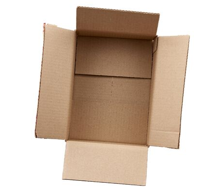 open empty brown rectangular cardboard box for transporting goods isolated on white background. Packaging design Stock fotó