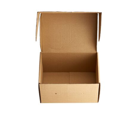 open brown rectangular cardboard box for transporting goods isolated on white background. Packaging design Stock fotó