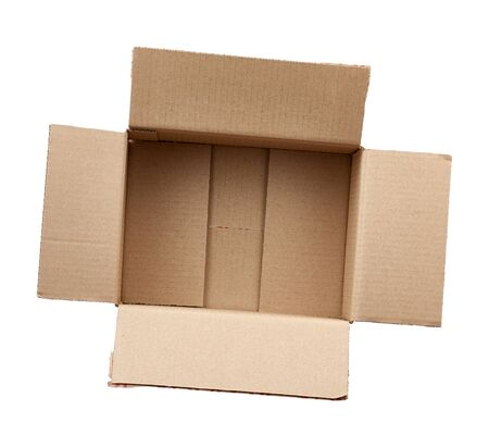open empty brown rectangular cardboard box for transporting goods isolated on white background. Packaging design.