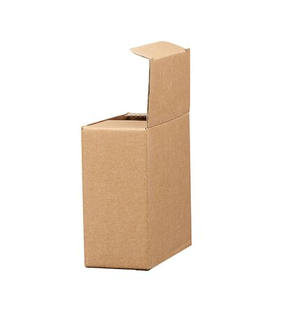 open brown square cardboard box for transporting goods isolated on white background. Packaging design