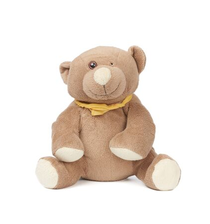 miserable brown teddy bear sitting on a white isolated background, childrens toy without an eye