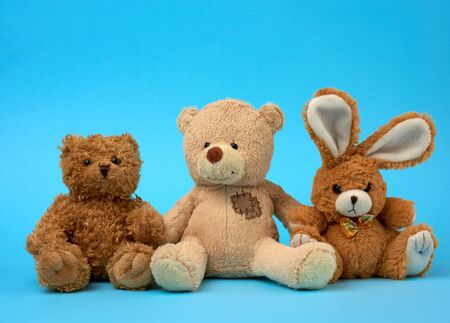 cute curly brown teddy bears and bunny, concept of support and friendship, toys on a blue background