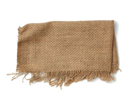 brown burlap fragment isolated on white background, top view