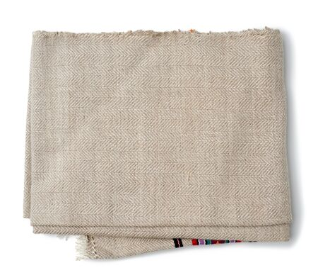 folded kitchen linen gray towel isolated on white background, top view Stockfoto