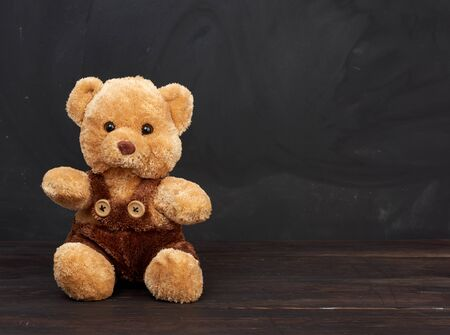brown teddy bear sits on a brown wooden table, behind an empty black chalk board, place for an inscription, back to school Banque d'images