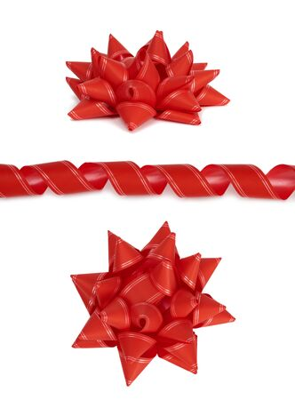 curled paper red decorative ribbon for tying gifts and red bow isolated on a white background, set