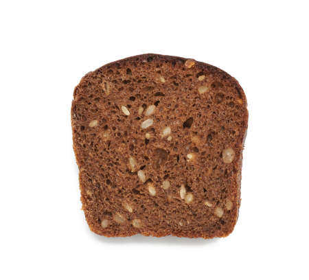square piece of rye bread with sunflower seeds is isolated on a white background, view of a roll, healthy and tasty product