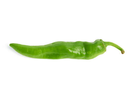 pod of green hot pepper isolated on white background, spicy spice