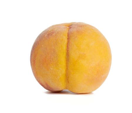 whole ripe yellow peach isolated on a white background, close up Archivio Fotografico