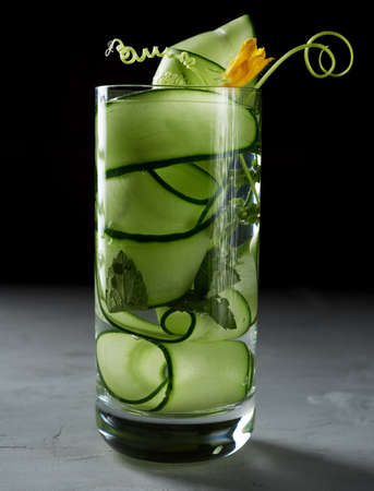 transparent glass with cucumber pieces, mint leaves and mineral water, healthy lifestyle, detox Archivio Fotografico