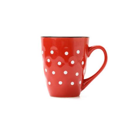 red ceramic mug in white circle isolated on white background, close up