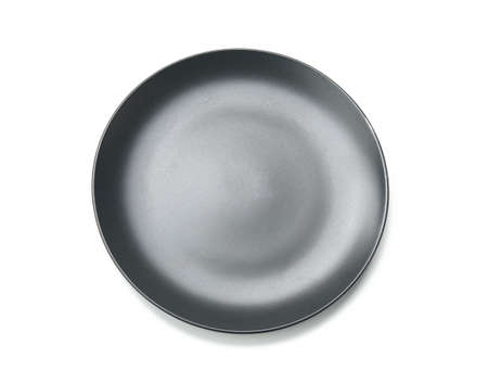 round gray plate for main courses isolated on white background, top view