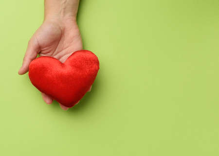 female hand holds red textile heart, green background. Love and donation concept, close up