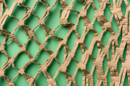 abstract green texture with cut honeycomb brown corrugated paper, full frame