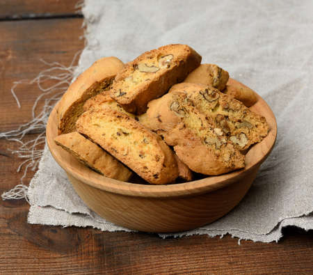 pieces of baked italian christmas biscotti cookies, close up