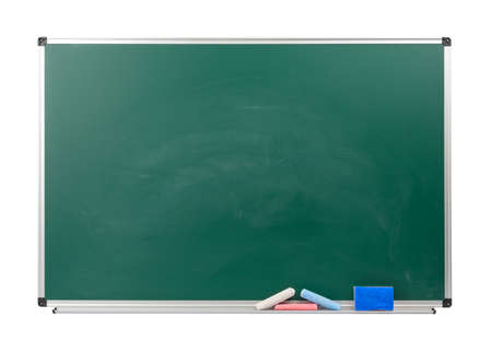 blank green school chalk board isolated on white background