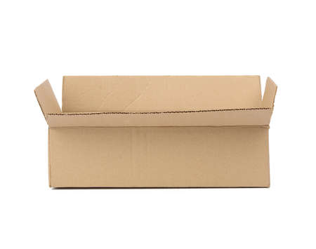 open cardboard rectangular box made of corrugated brown paper isolated on fucking background Фото со стока
