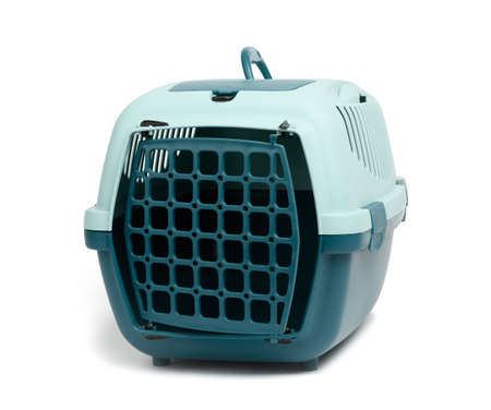 large plastic carrier cage for cats and dogs isolated on white background