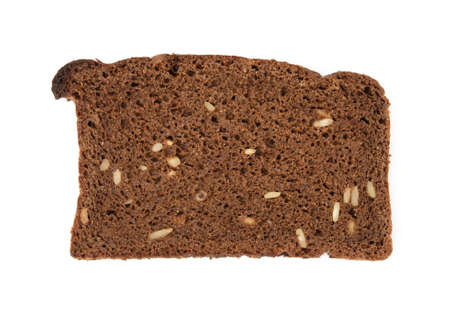 slice of rye flour bread with sunflower seeds isolated on white background, top view