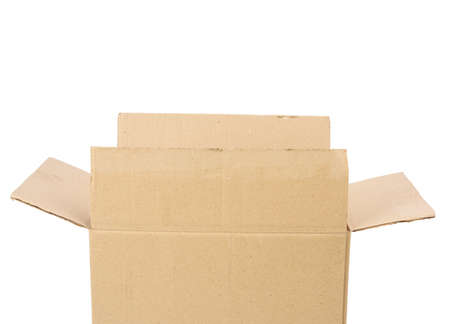open cardboard rectangular box made of corrugated brown paper isolated on a white background