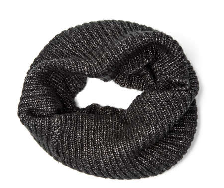 black knitted scarf isolated on white background, top view