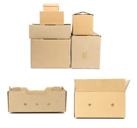 stack of closed cardboard brown paper boxes isolated on white background, set