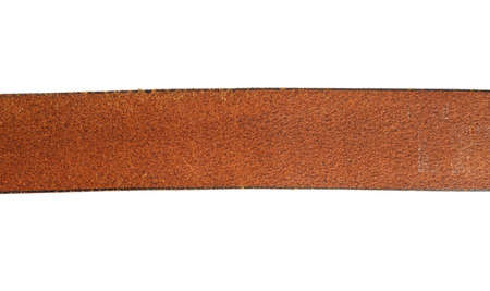fragment of brown leather belt isolated on white background, close up