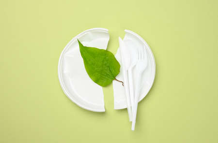 broken white plastic plate and green leaf on a green background. The concept of avoiding plastic, preserving the environment, top view