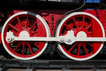 Wheels of vintage locomotive photo