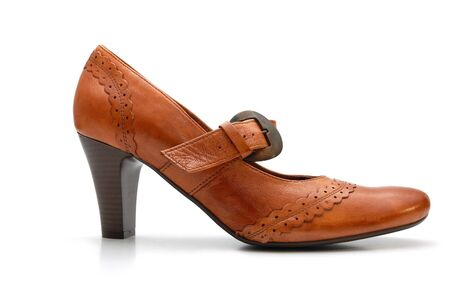 clasp feet: Leather woman shoe