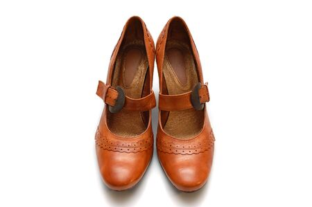 clasp feet: Leather woman shoes Stock Photo