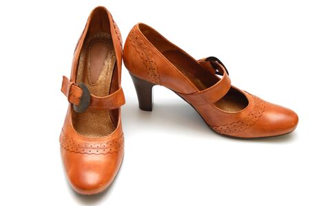 leather woman: Leather woman shoes Stock Photo