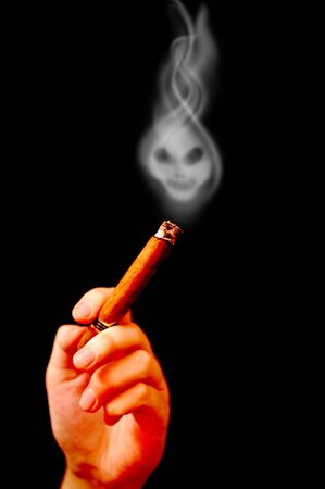 habbit: Hand holds cigar with smoke in shape of death Stock Photo