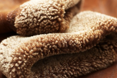 sheepskin: Sleeves of sheepskin coat