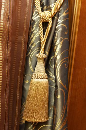 Knot and tassel on classic luxury cutrain Stock Photo - 4754254