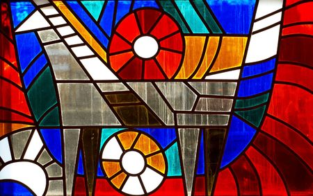 colored window: Fragment of stained-glass window. Animal ornamental pattern.