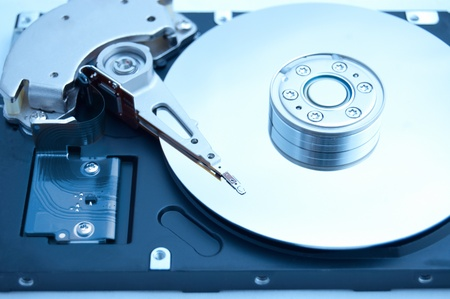Inside computer harddrive (HDD) photo