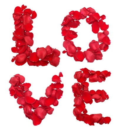 Red rose petals set in word LOVE photo