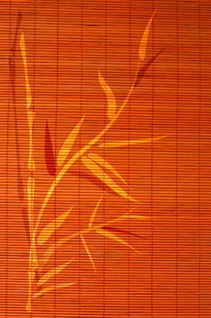 Bamboo place mat with handdrawn image of bamboo plant. Ideally as background. photo