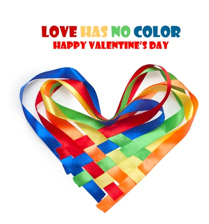 multycolored: Heart made of intertwined colored ribbons. Symbol of love and Valentines day