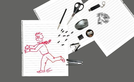 Sketch of office man running away from stationary  photo