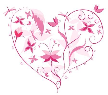 Floral Love Shape. Heart of flowers, butterflies and dragonflies. Vector