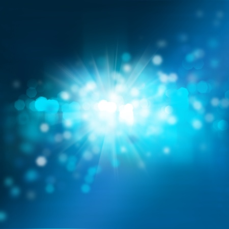 Abstract background with bokeh and glowing star. Night or underwater colors photo
