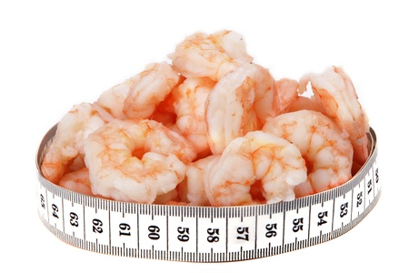metre: shrimps and metre isolated on white background