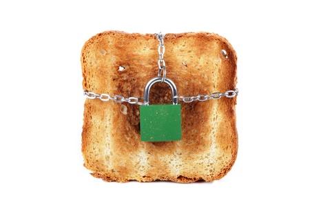 burnt toast: toast and padlock isolated over white background