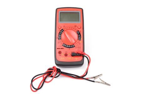 professional digital multimeter isolated over white background photo