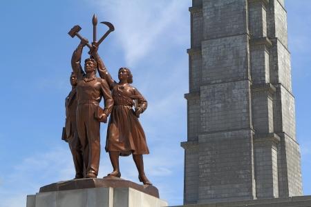 Pyongyang, Corea del Nord - 2011 Agosto: La Torre dell'Idea Juche. Si tratta di un uno dei simboli più popolari di Pyongyang. Archivio Fotografico - 16605505