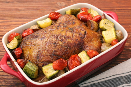 Duck roast with baked vegetables
