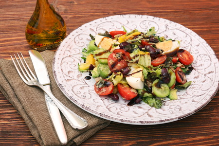 Salad with tuna, egg, tomato and beans Stock Photo